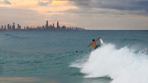 Currumbin surfer at sunset
