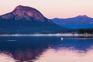 A Pelican drifts slowly across the water as the first rays of light hit the mountains